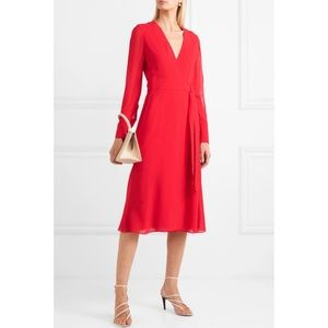 AKRIS Red Silk Wrap Dress Crepe Georgette midi